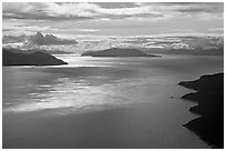 Aerial view of Sitakaday Narrows, late afternoon. Glacier Bay National Park, Alaska, USA. (black and white)