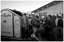 Baggage claim, King Salmon. Katmai National Park, Alaska, USA. (black and white)
