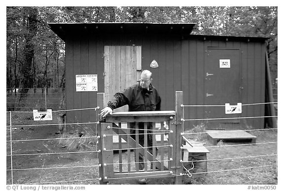 Food and gear cache in the campground, protected from bears by an electric fence. Katmai National Park (black and white)