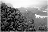 Climbing into the Novaropta crater, where fumeroles are still present, Valley of Ten Thousand smokes. Katmai National Park, Alaska (black and white)