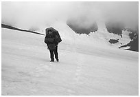 Hiking in a white-out, Valley of Ten Thousand smokes. Katmai National Park, Alaska (black and white)