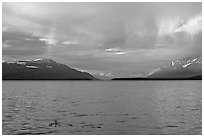 Sunset and rainbow, Naknek lake. Katmai National Park, Alaska, USA. (black and white)