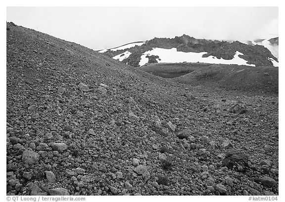 Pumice and Novarupta (the center of the 1912 eruption), Valley of Ten Thousand smokes. Katmai National Park (black and white)
