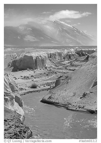 Convergence of the Lethe river and and Knife river, Valley of Ten Thousand smokes. Katmai National Park (black and white)