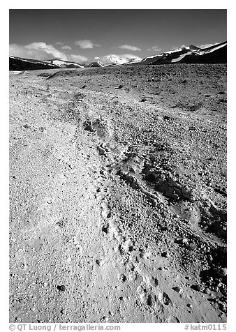 Valley with animal tracks in  ash, Valley of Ten Thousand smokes. Katmai National Park (black and white)