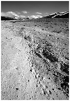 Valley with animal tracks in  ash, Valley of Ten Thousand smokes. Katmai National Park, Alaska, USA. (black and white)