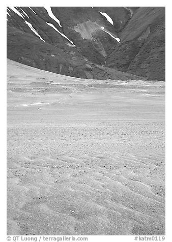 Ash formation on the floor of the Valley of Ten Thousand smokes, below the green hills. Katmai National Park (black and white)