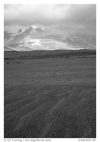 Ash formation, Valley of Ten Thousand smokes. Katmai National Park (black and white)