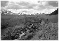 The Lethe river carved a deep gorge into the ash of the Valley of Ten Thousand smokes. Katmai National Park, Alaska, USA. (black and white)