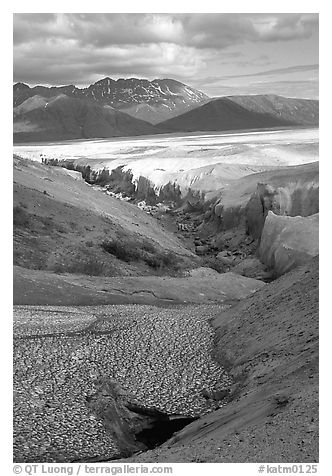 Snowfield and Lethe river, Valley of Ten Thousand smokes. Katmai National Park (black and white)