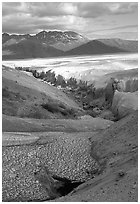 Snowfield and Lethe river, Valley of Ten Thousand smokes. Katmai National Park, Alaska, USA. (black and white)