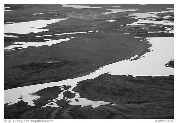 Patterns of melting snow, Valley of Ten Thousand smokes. Katmai National Park (black and white)
