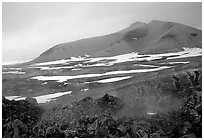 Baked mountain seen from Novarupta. Katmai National Park, Alaska, USA. (black and white)