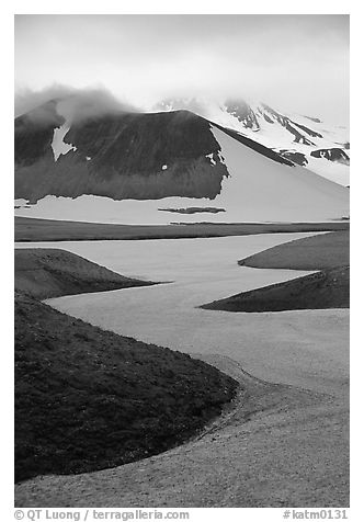 Snow is still present in early summer, Valley of Ten Thousand smokes. Katmai National Park, Alaska, USA.