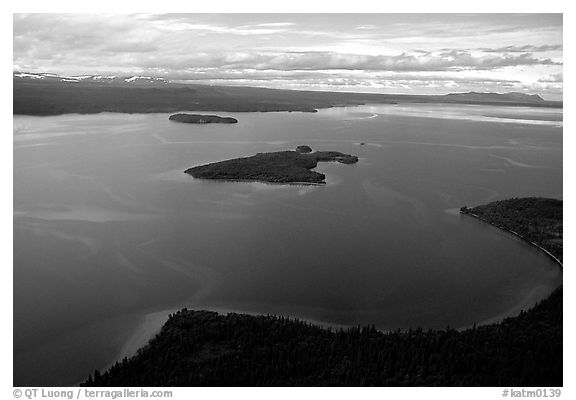 Aerial view of Naknek lake. Katmai National Park (black and white)