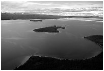 Aerial view of Naknek lake. Katmai National Park, Alaska, USA. (black and white)