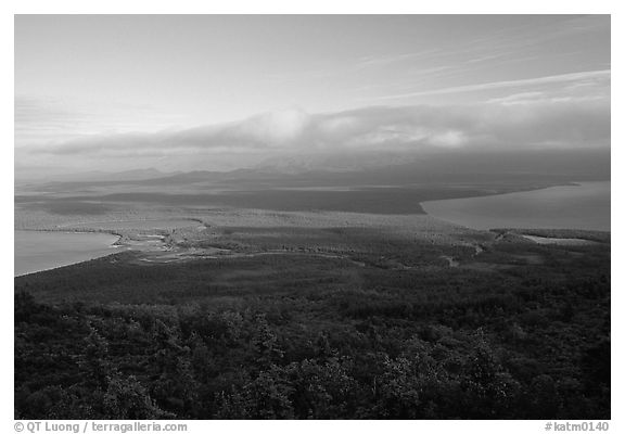 Brooks camp and river seen from the Dumpling mountain. Katmai National Park (black and white)