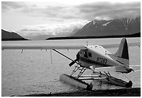 Floatplane in Naknek lake, used by visitors to fly in from King Salmon. Katmai National Park, Alaska, USA. (black and white)
