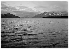 Naknek Lake at sunset with pink clouds. Katmai National Park ( black and white)