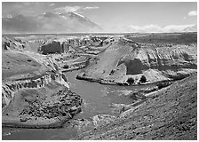 Gorge at the convergence of  Lethe and Knife rivers, Valley of Ten Thousand smokes. Katmai National Park, Alaska, USA. (black and white)