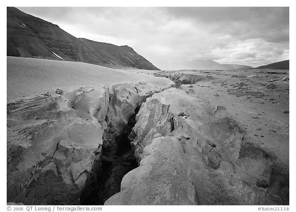Gorge carved by Lethe River ash floor of Valley of Ten Thousand smokes. Katmai National Park (black and white)