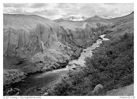 The Lethe river carved a deep gorge into the ash of the Valley of Ten Thousand smokes. Katmai National Park (black and white)