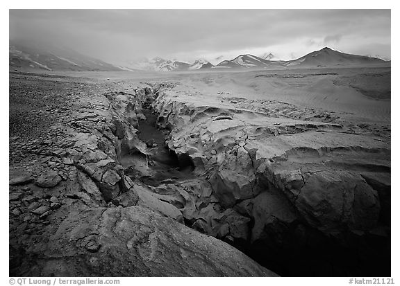 Lethe river gorge and volcanic peaks, Valley of Ten Thousand smokes. Katmai National Park (black and white)