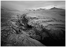 Lethe river gorge and volcanic peaks, Valley of Ten Thousand smokes. Katmai National Park, Alaska, USA. (black and white)