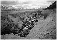 Colorful ash and Lethe River gorge, Valley of Ten Thousand smokes. Katmai National Park, Alaska, USA. (black and white)