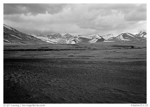 Ash plain, and mountains at sunset, Valley of Ten Thousand smokes. Katmai National Park (black and white)