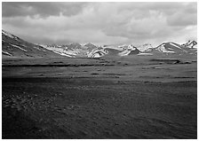 Ash plain, and mountains at sunset, Valley of Ten Thousand smokes. Katmai National Park, Alaska, USA. (black and white)