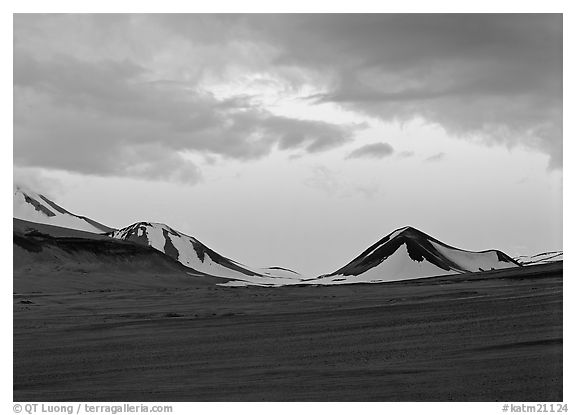 Mt Meigeck emerging above ash plain of  Valley of Ten Thousand Smokes at dusk. Katmai National Park (black and white)