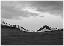 Mt Meigeck emerging above ash plain of  Valley of Ten Thousand Smokes at dusk. Katmai National Park ( black and white)