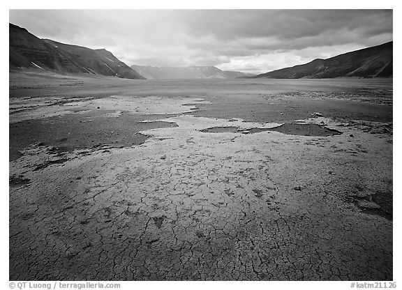 Brightly colored ash in wide plain, Valley of Ten Thousand smokes. Katmai National Park (black and white)