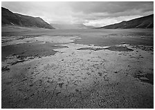 Brightly colored ash in wide plain, Valley of Ten Thousand smokes. Katmai National Park, Alaska, USA. (black and white)