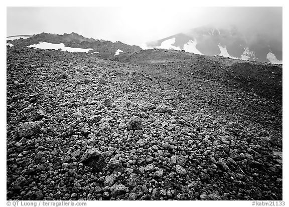 Pumice below Novarupta volcano, Valley of Ten Thousand smokes. Katmai National Park (black and white)