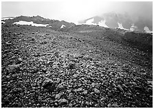 Pumice below Novarupta volcano, Valley of Ten Thousand smokes. Katmai National Park, Alaska, USA. (black and white)