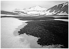 Melting snow and lichens, Valley of Ten Thousand smokes. Katmai National Park, Alaska, USA. (black and white)