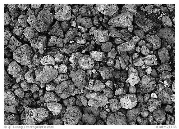 Detail of pumice, Valley of Ten Thousand smokes. Katmai National Park (black and white)