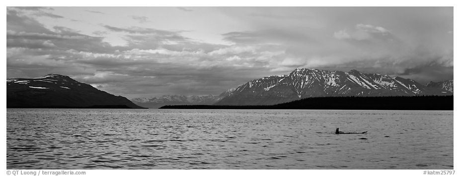 Lake and Mountains with pink clouds at sunset. Katmai National Park (black and white)