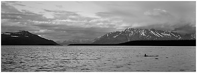 Lake and Mountains with pink clouds at sunset. Katmai National Park (Panoramic black and white)