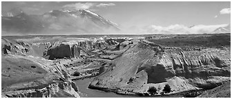 Gorge cut in volcanic ash plain, Valley of Ten Thousand Smokes. Katmai National Park (Panoramic black and white)