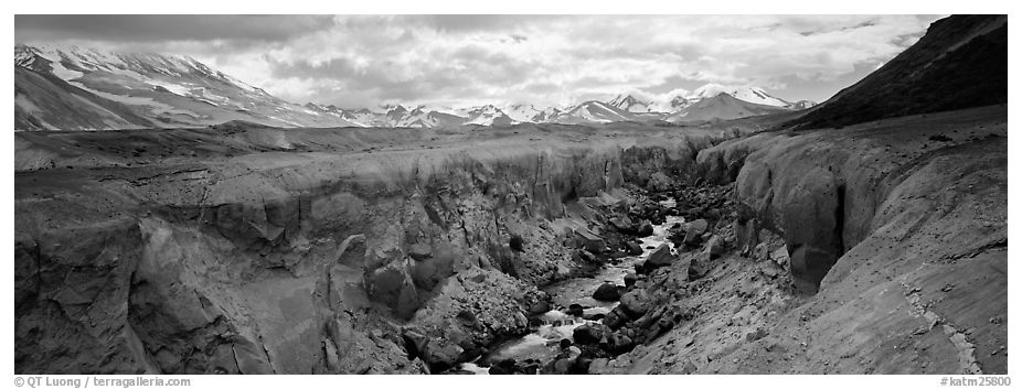 Volcanic landscape with river cutting into ash valley. Katmai National Park (black and white)