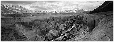 Volcanic landscape with river cutting into ash valley. Katmai National Park (Panoramic black and white)