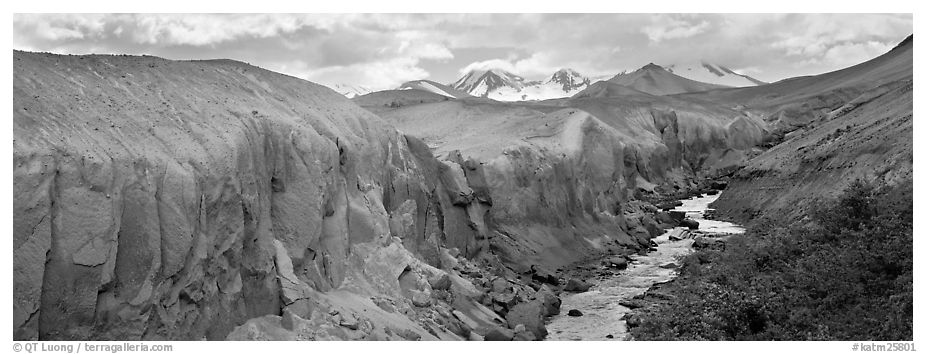 Lethe river cutting deep into ash floor, Valley of Ten Thousand Smokes. Katmai National Park (black and white)
