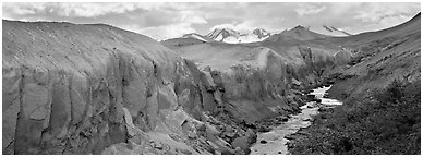 Lethe river cutting deep into ash floor, Valley of Ten Thousand Smokes. Katmai National Park (Panoramic black and white)