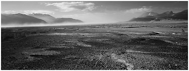 Ash-covered valley. Katmai National Park (Panoramic black and white)