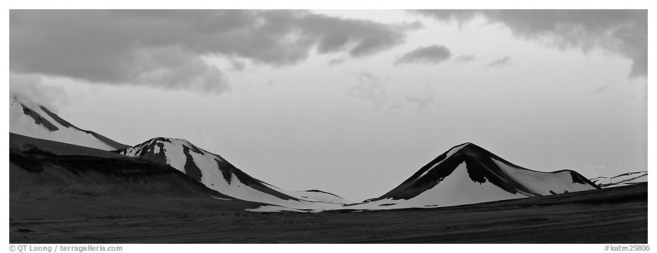 Snow-covered mountains with pink dusk sky. Katmai National Park (black and white)