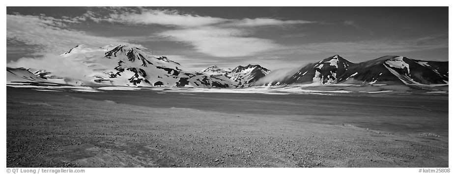 Snow-covered mountains contrasting with arid valley floor. Katmai National Park (black and white)