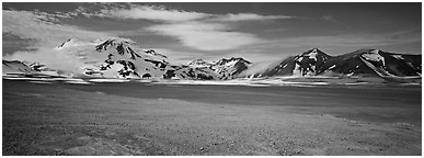 Snow-covered mountains contrasting with arid valley floor. Katmai National Park (Panoramic black and white)